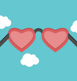 heart shaped pink glasses vector image