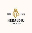 heraldic head lion with crown golden color logo vector image vector image