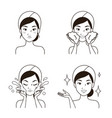 icon step facial cleansing beautiful woman vector image vector image