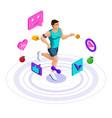 isometric male athlete beautiful sports body vector image