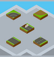 isometric road set of bitumen turn without strip vector image vector image