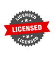 licensed sign red-black circular band vector image vector image