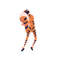 male character in cute tiger costume hiding behind vector image vector image