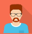 man in glasses icon flat style vector image vector image