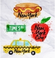 New York symbols taxi crumled paper vector image