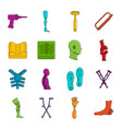 orthopedics prosthetics icons doodle set vector image
