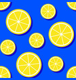 pattern with lemon slices on blue background