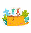 people gift party costumes happy present vector image vector image