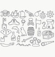 pirates thin line icons set vector image vector image