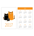 Pocket calendar 2017 year Week starts Sunday Flat vector image