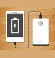 power bank charging a smartphone on wooden desk vector image vector image