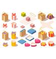 set of gift boxes opened and closed colorful vector image vector image