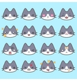 Set of simple cute cat emoticons vector image vector image