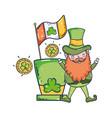 st patricks day leprechaun with ireland flag vector image
