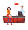 supermarket store counter cashier and buyer vector image vector image
