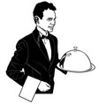 the waiter carrying a main dish vector image vector image