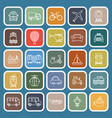 transportation line flat icons on blue background vector image vector image