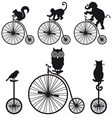 vintage bicycle with animals set vector image