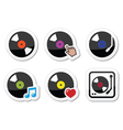 Vinyl record DJ icons set vector image vector image