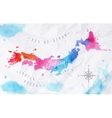 Watercolor map Japan pink blue vector image