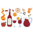 wine set with bottle glass mulled fruits vector image
