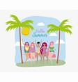 women hello summer holiday design vector image