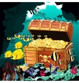 Underwater cave with an open pirate treasure chest vector image