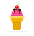 berry sorbet in a waffle cup flat isolated vector image
