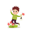 bully kid flat character jumping on green lawn and vector image vector image