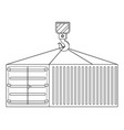 cargo container hanging on a crane hook in black vector image