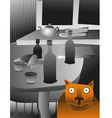 cat and table vector image vector image