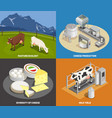 cheese production 2x2 design concept vector image vector image