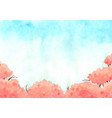 cherry blossom tree with blue sky watercolor vector image