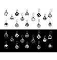 christmas decorations drawn hand doodle set vector image