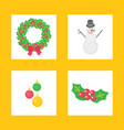christmas wreath and snowman character icons set vector image
