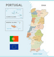 colorful map portugal vector image