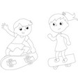 coloring cartoon skateboarders isolated vector image vector image