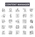 content manager line icons signs set vector image vector image