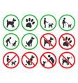 dog friendly and dog restriction signs dog vector image vector image