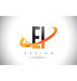 ei e i letter logo with fire flames design and vector image vector image