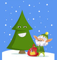 fairy characters smiling fir-tree and elf vector image