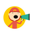 firefighter in uniform with megaphone icon vector image vector image