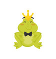 flat icon of cute frog with golden crown on vector image