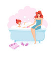 girl and her mom taking a bath vector image