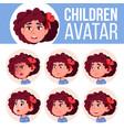 girl avatar set kid kindergarten face vector image vector image