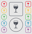 glass of wine icon sign symbol on the Round and vector image