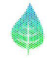 halftone blue-green plant leaf icon vector image vector image