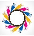hand show victory sign arrange in round shape vector image