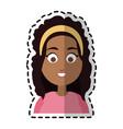 happy dark skin young pretty woman cartoon icon vector image vector image