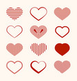 heart icon flat design hearts set isolated vector image vector image